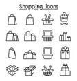 shopping icon set in thin line style vector image vector image