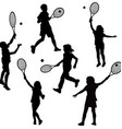 Silhouettes of children playing tennis vector image vector image