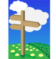 spring background signpost on meadow vector image vector image