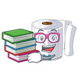 student with book toilet paper isolated with the vector image vector image