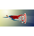 super businessman flying and breaking target vector image vector image