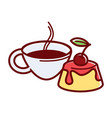 tender panna cotta with cherry and hot coffee vector image vector image