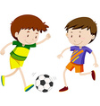 Two boy playing soccer vector image vector image