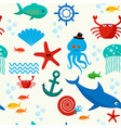 Underwater and sea animals seamless pattern vector image vector image