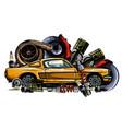 vintage car components collection wit automobile vector image