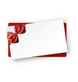 white holiday card with red bow vector image vector image
