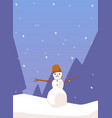 winter card or banner layout with snowman in vector image vector image