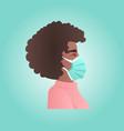 woman wearing protective mask against corona virus vector image