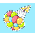 yellow paper plane and flying colorful ba vector image
