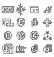 line bitcoin icons set vector image