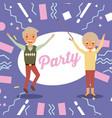 happy cheerful senior couple grandparents jump vector image