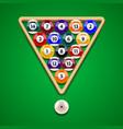 pool billiard balls on green table vector image