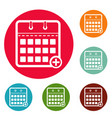 calendar deadline icons circle set vector image vector image