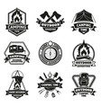 camping outdoor emblems touristic hiking vintage vector image vector image