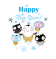 christmas bright card with funny owls vector image vector image