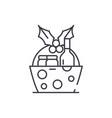 christmas gift basket line icon concept christmas vector image vector image