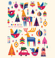christmas scandinavian folk collection vector image vector image