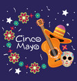cinco de mayo celebration card with guitar vector image vector image