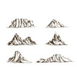 collection of mountains hand drawn in vintage vector image