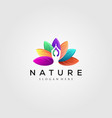 colorful leaf logo with yoga silhouette vector image vector image