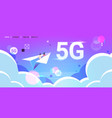 couple flying on paper origami plane 5g online vector image vector image
