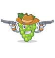 cowboy green grapes character cartoon vector image