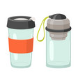 cups and drink glasses icon set vector image vector image