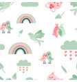cute animal pattern dove birds and cat rainbow vector image vector image