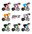 cycling team cycling tour icon set vector image