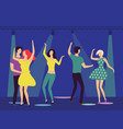 dancing people in club man and woman hugging vector image