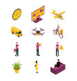 delivery logistic icon set 3d isometric view vector image