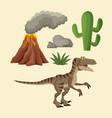dinosaurs elements cartoon vector image vector image