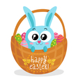 Easter greeting card with bunny in basket vector image vector image