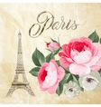 Eiffel tower with spring flowers vector image vector image