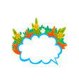empty speech cloud decorated with summer plants vector image vector image