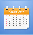 european calendar for august 2017 vector image