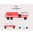 fast emergency special vehicles set isolated vector image