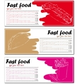 Fast food menu cards with hot dog taco and french vector image vector image