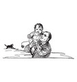father holding young boy vintage vector image vector image