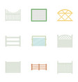 fence icons set cartoon style vector image vector image