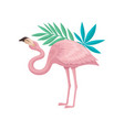 flamingo with gentle pink feathers and green vector image vector image