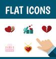 flat icon love set of divorce patisserie gift vector image vector image