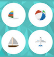 flat icon season set of aircraft yacht sphere vector image