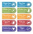 Food nutrition information label banner set