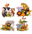 Four groups of wild animals vector image vector image