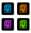 glowing neon js file document icon download js vector image