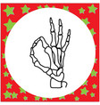hand drawn skeleton hand with ok sign vector image vector image