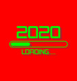 happy new year 2020 with loading icon green neon vector image vector image