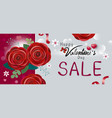happy valentines day sale design of red rose vector image