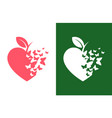 heart shaped apple icon with flying butterflies vector image